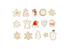 Hand drawn vector abstract fun Merry Christmas time cartoon illustrations collection set with baked gingerbreads cookies. Isolated on white background Royalty Free Stock Images