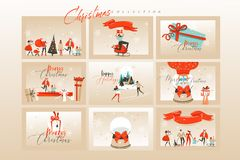 Hand drawn vector abstract fun Merry Christmas time cartoon illustrations greeting cards template and backgrounds big. Collection set with gift boxes,people and royalty free illustration