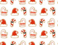 Hand drawn vector abstract fun Merry Christmas time cartoon illustrations seamless pattern with baked gingerbreads. Cookies isolated on white background Stock Photo