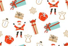 Hand drawn vector abstract fun Merry Christmas time cartoon illustrations seamless pattern with baked gingerbreads. Cookies,Santa Claus and gift boxes  on white Stock Photos