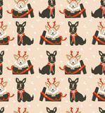 Hand drawn vector abstract fun Merry Christmas time cartoon illustrations seamless pattern with cute funny mammal dogs Royalty Free Stock Photography