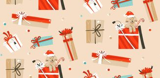 Hand drawn vector abstract fun Merry Christmas time cartoon illustrations seamless pattern with cute funny mammal dogs. In vintage Christmas gifts boxes  on Royalty Free Stock Photo