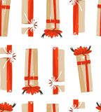 Hand drawn vector abstract fun Merry Christmas time cartoon illustrations seamless pattern with cute retro vintage. Christmas gifts isolated on white background Stock Photography