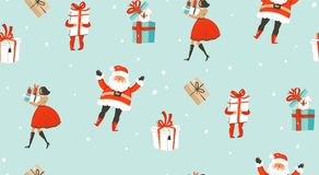 Hand drawn vector abstract fun Merry Christmas time cartoon illustrations seamless pattern with people,kids,dog,Santa Royalty Free Stock Photography