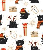 Hand drawn vector abstract fun Merry Christmas time cartoon rustic festive seamless pattern with cute illustrations of Stock Photography