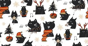 Hand drawn vector abstract fun Merry Christmas time cartoon rustic festive seamless pattern with cute illustrations of. Holiday black cats and xmas tree  on Royalty Free Stock Image