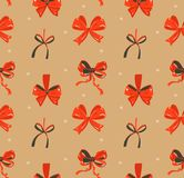 Hand drawn vector abstract fun Merry Christmas time cartoon rustic festive seamless pattern with cute illustrations of. Red silk bows isolated on craft paper Royalty Free Stock Images