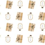 Hand drawn vector abstract fun Merry Christmas time cartoon seamless pattern with cute illustrations,surprise gift box. And snowman isolated on white background Royalty Free Stock Images