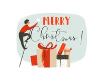 Hand drawn vector abstract fun Merry Christmas time illustration greeting card with man,star,many surprise gifts boxes. And modern typography Merry Christmas royalty free illustration