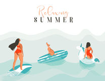 Hand drawn vector abstract fun summer time illustration card with surfer girls,swimming unicorn circle,cute dog on Stock Photos