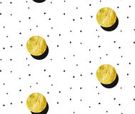 Hand drawn vector abstract gold full moon seamless pattern and polka dots texture isolated on white background.Design. For decoration,wrapping,fashion fabric Royalty Free Stock Image
