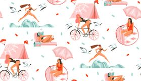 Hand drawn vector abstract graphic cartoon summer time flat illustrations seamless pattern with beauty sport girls. Relaxing,running and ridding on bike Vector Illustration