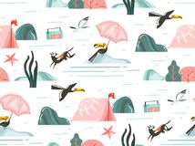 Hand drawn vector abstract graphic cartoon summer time flat illustrations seamless pattern with camping tent,dogs,toucan. Birds,record player and sea gulls vector illustration