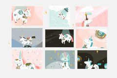 Hand drawn vector abstract graphic creative cartoon illustrations cards collection set template with astronaut unicorns stock photo
