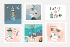 Hand drawn vector abstract graphic creative cartoon illustrations cards collection set template with astronaut unicorns royalty free illustration