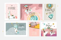 Hand drawn vector abstract graphic creative cartoon illustrations cards collection set template with astronaut unicorns stock illustration