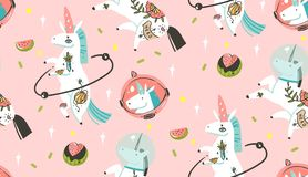 Hand drawn vector abstract graphic creative cartoon illustrations seamless pattern with cosmonaut unicorns with old stock illustration