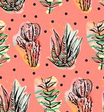 Hand Drawn Vector Abstract Graphic Creative Succulent,cactus And Plants Seamless Pattern On Polka Dots Background.Unique Royalty Free Stock Photo