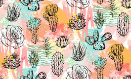 Hand drawn vector abstract graphic creative succulent,cactus and plants seamless pattern on colorful artistic brush. Painted background.Unique unusual hipster Royalty Free Stock Photos