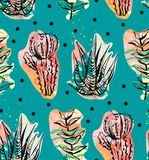 Hand drawn vector abstract graphic creative succulent,cactus and plants seamless pattern on polka dots background.Unique Stock Photo