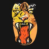 Hand drawn vector abstract graphic drawing of anger tiger face in orange colors  on black background.Hand made Stock Image