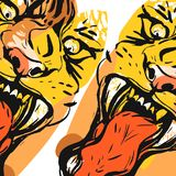 Hand drawn vector abstract graphic drawing of anger tiger face in orange colors isolated on white background.Hand made Royalty Free Stock Images