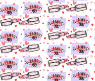 Hand drawn vector abstract graphic fashion seamless pattern with pop art funny lipstick,arrows,hearts and modern. Calligraphy quote I like you  on white Royalty Free Stock Photo