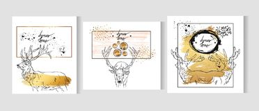 Hand drawn vector abstract graphic gold cards template set with deers isolated on white background in gold,black and. White colors.Merry Christmas and Happy new Stock Illustration