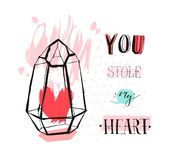 Hand drawn vector abstract graphic Love concept greeting card design with rough heartt in glass terrarium and modern. Calligraphy phase You stole my heart in vector illustration