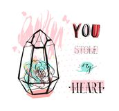 Hand drawn vector abstract graphic Love concept greeting card design with succulent plant in glass terrarium and modern. Calligraphy phase You stole my heart in Royalty Free Stock Image