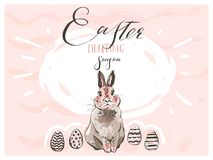 Free Hand Drawn Vector Abstract Graphic Scandinavian Happy Easter Cute Simple Bunny Silhouette,egg Illustrations Greeting Royalty Free Stock Photo - 114778475
