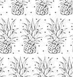 Hand drawn vector abstract graphic simple small pineapple pattern with polka dots texture  on white background. Stock Photo