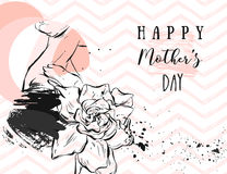 Hand drawn vector abstract greeting card with Happy Mothers Day Calligraphy and woman figure with abstract flowers in. Pastel colors isolated on white Royalty Free Stock Photos