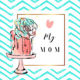 Hand drawn vector abstract greeting card with Love my Mom Calligraphy and cake on stand with succulent flower,zig zag Stock Photo