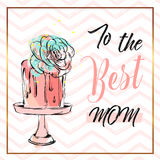 Hand drawn vector abstract greeting card with To the best mom Calligraphy and cake on stand with succulent flower,zig. Zag ornament and golden frame.Feminine Royalty Free Stock Photography