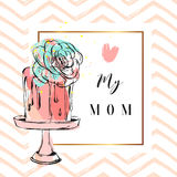 Hand drawn vector abstract greeting card with To the best mom Calligraphy and cake on stand with succulent flower,zig Royalty Free Stock Image