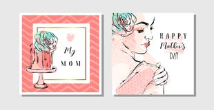 Hand drawn vector abstract greeting cards set with Happy Mother`s Day Calligraphy and woman figure with abstract flowers. Isolated on white background,feminine Royalty Free Stock Image
