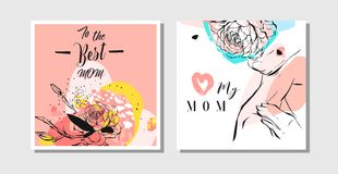 Hand drawn vector abstract greeting cards set with Happy Mother`s Day typography and woman figure with abstract flowers. Isolated on white background,feminine Stock Photo