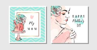 Hand drawn vector abstract greeting cards set with Happy Mothers Day Calligraphy and woman figure with abstract flowers Stock Photo