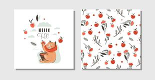Hand drawn vector abstract greeting cartoon autumn cards set template with cute cat character collected apple harvest Royalty Free Stock Image