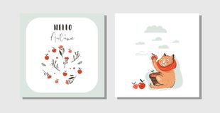 Hand drawn vector abstract greeting cartoon autumn cards set template with cute cat character collected apple harvest Stock Photography