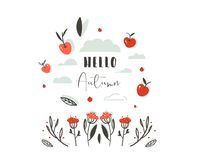 Hand drawn vector abstract greeting cartoon autumn graphic decoration header with set of berries,leaves,branches,apple. Harvest and modern typography phase Stock Photos