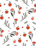 Hand drawn vector abstract greeting cartoon autumn graphic decoration seamless pattern with berries,leaves,branches and. Apple harvest isolated on white Royalty Free Stock Photography