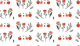 Hand drawn vector abstract greeting cartoon autumn graphic decoration seamless pattern with berries,leaves,branches and. Apple harvest isolated on white Royalty Free Stock Images