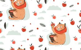Hand drawn vector abstract greeting cartoon autumn illustration seamless pattern with cute cat character collected apple. Harvest with berries,leaves and royalty free illustration