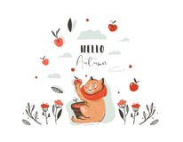 Hand drawn vector abstract greeting cartoon autumn illustration set with cute cat character collected apple harvest with. Berries,leaves,branch and typography royalty free illustration