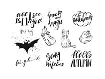 Hand drawn vector abstract handwritten modern calligraphy Halloween quotes,signs,logo,icons,illustrations,elements. Collection set isolated on white background Royalty Free Stock Image