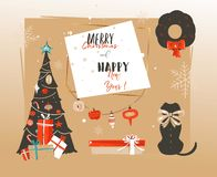 Hand drawn vector abstract Happy New Year time cartoon illustrations retro card with xmas tree,surprise gift boxes. Mammal dog and modern typography isolated on stock illustration