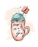 Hand drawn vector abstract illustration of mug. With hot chocolate or tea and whipped cream in pastel colors.Cyrillic handwritten russian lettering phase first Stock Image
