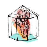 Hand drawn vector abstract illustration with rough terrarium and succulent plant in pastel color isolated on white Royalty Free Stock Images